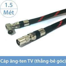 Dây tín hiệu Angten TV 1 đầu thẳng 1 đầu bẻ góc, đầu DVB vào TV – Chống nhiễu từ trường EMI 1.5 mét (màu đen – bọc lưới)