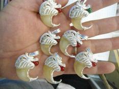 Móng Cọp, móng Hổ (Tự nhiên) Bọc bạc đầu rồng