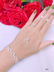 Bộ trang sức bạc hình trái tim đính đá