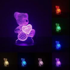 Đèn ngủ LED 3D (Full chức năng) – Gấu Ôm Tim