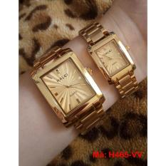 Cặp Đồng hồ Halei nam nữ cao cấp chống xước chống nước tuyệt đối (Giá 1 đôi) dây vàng mặt vàng