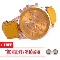 Đồng hồ Unisex dây da Geneva rẻ đẹp (Dây Vàng, Mặt Vàng) + Tặng Kèm Pin