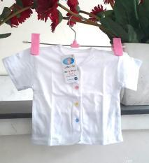 Bộ 5 áo sơ sinh An an màu trắng, tay ngắn, cúc giữa cho bé từ 0-9 tháng