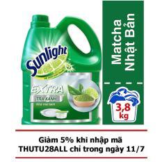Nước rửa chén Sunlight hương Chanh Matcha Nhật Bản can 3,8kg