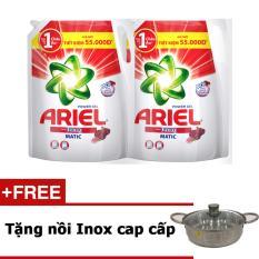 Bộ 2 Nước giặt Ariel Downy gói 2.4KG tặng nồi Inox cao cấp