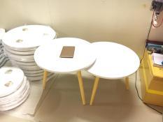 BSF – Cặp bàn tròn trắng sofa 60-60, bàn trà, bàn cafe, bàn coffee, bàn gỗ phòng khách, bàn cà phê