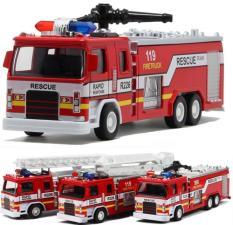 Xe cứu hỏa bằng sắt đồ chơi trẻ em mô hình tỉ lệ 1:32 xe có âm thanh và đèn có 3 kiểu xe : vòi phun , xe cầu thang và xe có rọ cẩu người