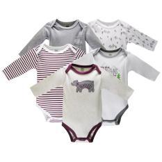 Set 5 Bodysuit Dài Tay Hudson Baby GẤU Đẹp Cho Bé Trai ( Mẫu Giống Hình)