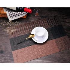 Bộ 4 tấm khăn lót bàn ăn 3 sọc (Màu Nâu)