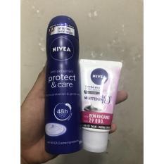 Xịt khử mùi Nivea Chăm sóc và bảo vệ 150ml tặng sữa rửa mặt 50g