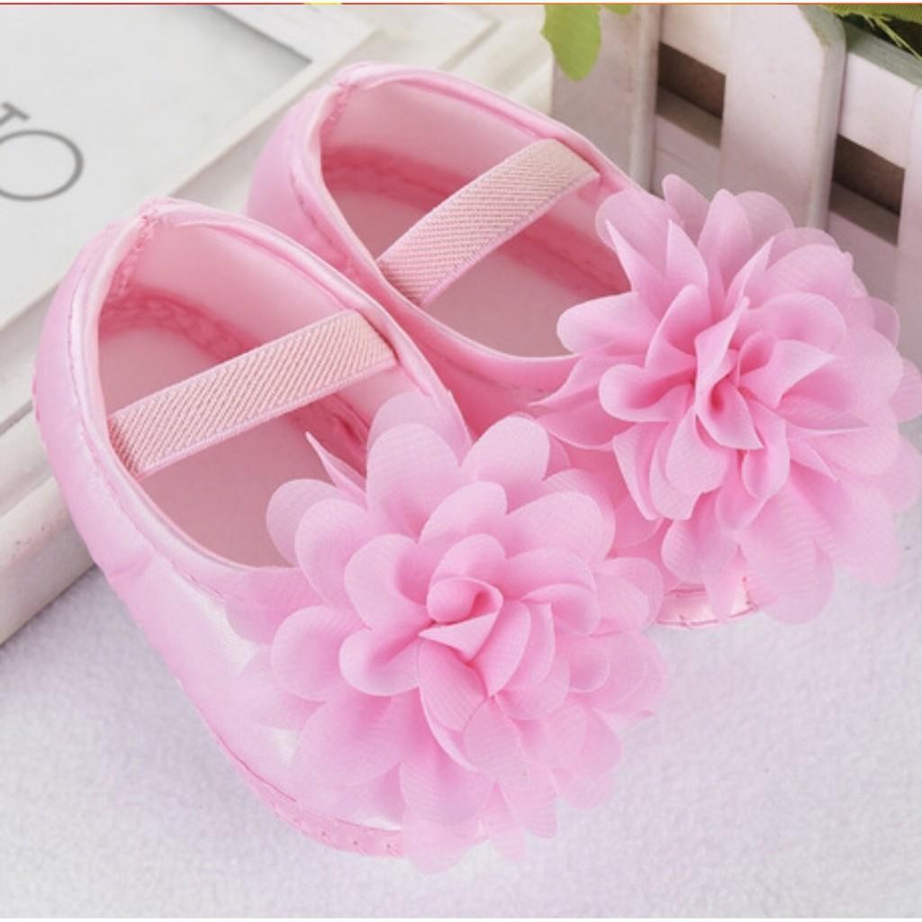 Giày tập đi đính bông hoa bé gái_Hồng size 11