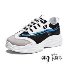Giày thể thao nữ đế cao phong cách Hàn Quốc (trắng đen)