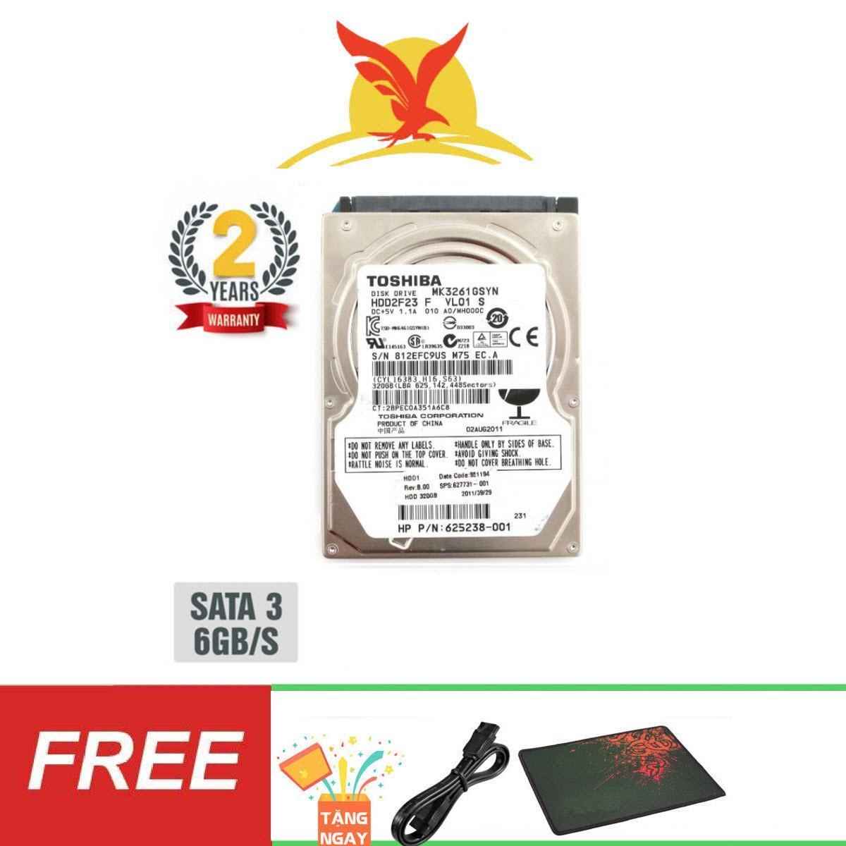 Ổ cứng gắn trong Laptop HDD Toshiba 320GB SATA 6Gb/s - Tặng: Cáp Sata, Lót Chuột