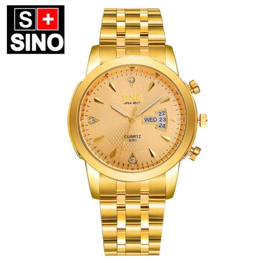 SINO Đồng hồ nam 8281 dây thép không gỉ cao cấp (Mặt Vàng)+TẶNG PIN DỰ PHÒNG
