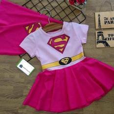 Đầm bé gái in hình siêu nhân Superman màu hồng