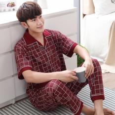 Bộ đồ ngủ nam kiểu Hàn Quốc quần dài tay ngắn vải thoáng khí Libavi M02