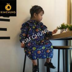 Áo mưa trùm trẻ em vải dù không thấm nước bé từ 6-8 tuổi (màu xanh)