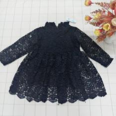 Váy đầm công chúa ren cao cấp dài tay giá rẻ cho bé gái từ 7kg đến 17kg( màu Hồng tím, Xanh than, Xanh dương,Trắng, Đen)