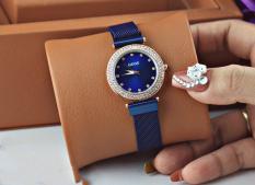 Đồng hồ nữ dây kim loại Dimini viền đá ( xanh nước biển)
