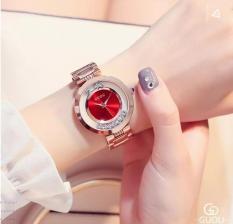 Đồng hồ nữ Guou đá xoay dây kim loại chống nước GĐ01 (mặt đỏ)