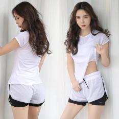 Set bộ quần áo tập Gym YOGA nữ phong cách Hàn Quốc -Màu Trắng