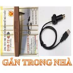 Giá Sốc Bộ Anten KTS mạch khuếch đại DVB-T2 + 15m dây+ cáp cấp nguồn USB (Đen)