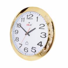 Đồng hồ treo tường OKAY 130 viền vàng họa tiết rồng uốn lượn 43cm