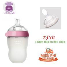 Bình sữa Silicon cao cấp Comotomo cho bé 250ml kèm núm thìa ăn cháo, bột