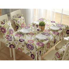 140x220cm KHĂN TRẢI BÀN HOA TÍM TRÒN khăn trải bàn đẹp khăn ăn tablecolths tableware flower canvas vintage tea dining table cafe fabric linen cotton