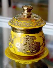 Ly nước thờ cúng rồng vàng 3D cao 11cm