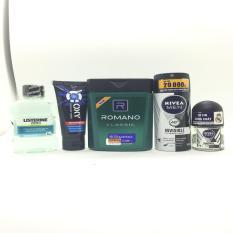 (NHH) Trọn bộ 5 Sản Phẩm Bao Gồm (1 Dầu Gội Đầu Romano (100g/chai), 1 Xịt khử mùi Nivea (40ml/chai), 1 Sữa rửa mặt OXY (25g/tuýp + Lăn Khử Mùi Nivea (12ml), 1 Nước Súc Miệng Listerin (80ml))