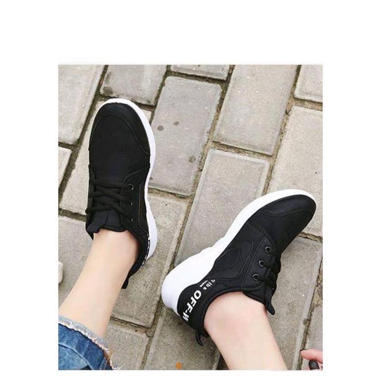 giày thể thao đen dây white
