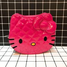 Túi đeo chéo mèo Kitty da bóng đan chéo màu hồng đậm 74-HD9059 (15x7x19cm)