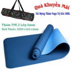 Thảm Yoga TPE 2 Lớp 6mm Cao Cấp ( Tặng Kèm Túi Và Dây Buộc) – Xanh Dương