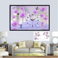 Tranh đính đá Đồng hồ hoa hồng tím Y8016 80x50cm