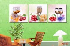 Khung Tranh treo tường phòng ăn Ly rượu hoa quả 3D / Gỗ MDF cao cấp / Chống ẩm mốc-VC-27