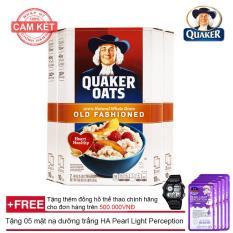 Hộp yến mạch Quaker Oats (dạng cán mỏng) Old Fashion 4.5kg + Tặng 05 mặt nạ dưỡng trắng HA Pearl Light Perception