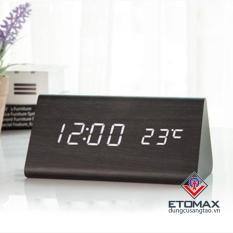 Đồng hồ báo thức điện tử vỏ gỗ khối tam giác V1