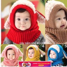 set mũ kèm khăn len tai cừu cho bé-bé 6 tháng-4 tuổi