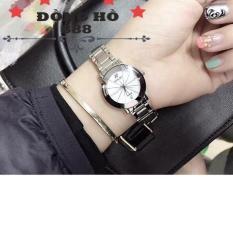Đồng hồ nữ Halei dây thép TẶNG 1 vòng tỳ hưu phong thủy may mắn (dây trắng mặt trắng)