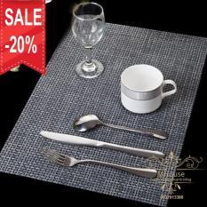 Bộ 4 tấm khăn lót bàn ăn, chén dĩa, ly tách (xám)