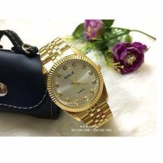Đồng hồ nam Halei mã 365 dây vàng mặt trắng