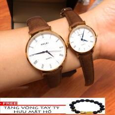 Cặp Đồng hồ nam nữ Halei dây da mặt tròn thời thượng TẶNG 1 vòng may mắn (dây nâu mặt trắng)