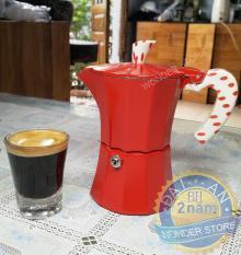 Bình pha cà phê Moka 3 tách phong cách Ý đỏ Rosso
