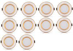 Bộ 10 đèn led âm trần viền vàng 7w 3 màu 3 chế độ
