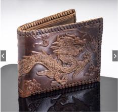 ví da bò chạm khắc rồng đẹp