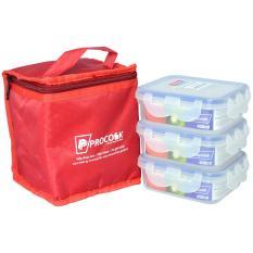 Bộ 3 hộp nhựa Happy Cook Plastic Box chữ nhật 450ml & Túi giữ nhiệt PCB-03R