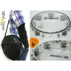 Combo Trống lắc tay và Bao đựng Lục Lạc Gõ Bo Tambourine Yamaha MT6-102T (Trong suốt – Trống chơi nhạc chế gõ po – Xipo – Tặng móng gẩy Tiến Mạnh Music)
