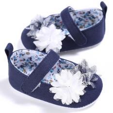 Giày tập đi kiểu jean phối hoa bé gái