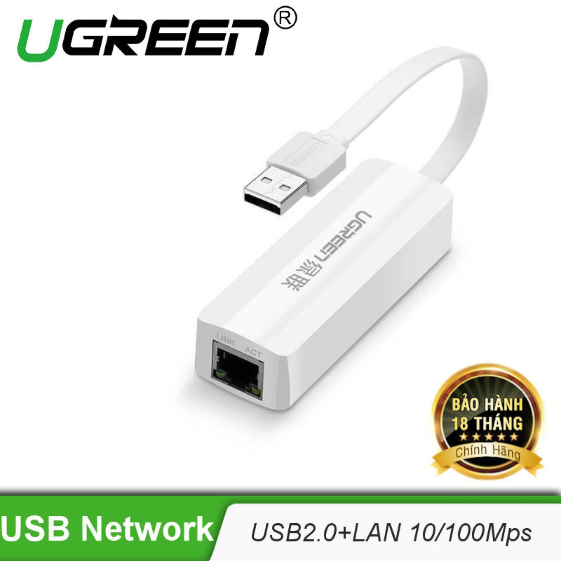 Bộ chuyển đổi USB 2.0 sang LAN 10/100 Mbps dây dẹt dài 10cm UGREEN 20268 (màu trắng) – Hãng phân phối chính thức.